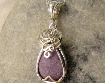 Purple Gemstone Necklace - Purpurite Pendant - Wire Wrapped - Purple Jewellery - Purpurite Necklace - Sterling Silver - Healing Stone