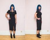 90s Vintage CAGE Goth Midi Dress // Black STRAPPY Grunge button-up Dress - Size M L
