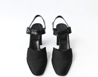 SALE - 1990s Robert Clergerie Black Mules Mary Janes Platforms