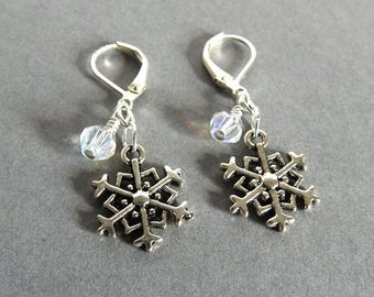Snowflake Earrings, Silver Snowflakes with Crystal Dangle, Holiday Jewelry, Winter Snow Earrings, Feminine Jewelry