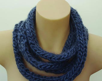 Hand Knitted rope scarf with tassels, long skinny scarf - grey blue