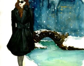 New York In Winter Fashion Illustration Print