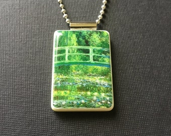 Monet pendant, Giverny Necklace, Claude Monet jewelry, Giverny Japanese bridge necklace, handmade Monet jewelry, recycled mahjong jewelry