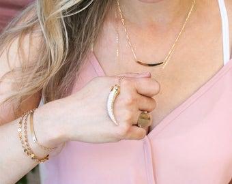Long Pendant Necklace, Pave Horn Long Pendant Necklace/ Long Layering Necklace, Crystal Pave Necklace Gold Necklace, Long Pendant Necklace
