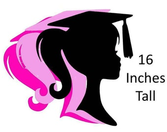 Graduation Girl Silhouette Decoration  Party Wall Sign Backdrop Party Decor Supply High School 2017 Graduation Decoration 16 Inch Tall