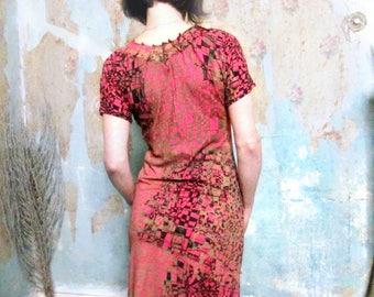 Misskarret Hot Pink Wearable Art Jersey Dress Hand Printed Dress Geometric Print Dress Op Art Dress Short Sleeve Mini Dress Cotton Dress