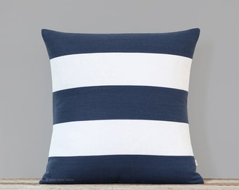 Rugby Striped Pillow Cover in Navy and Cream Linen - Spring Pillows by JillianReneDecor, Nautical Stripes, Blue and White Decorative Pillows