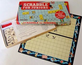 1950s Junior Scrabble Word Game - Vintage Children's Game - Two-sided Board with Pictures, Complete with Letter Tiles and Plastic Counters