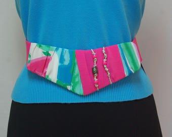 1980s Embellished Belt, Jo Hardin Belt, Pink and Blue Fabric Belt, Pink Stretch Belt, Novelty Belt, Wide Belt, Adjustable Belt