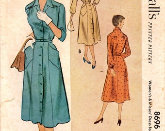 1950s McCall's 8696 Vintage Sewing Pattern Misses Half Size Dress, Button Down Dress, Spectator Dress, Shirtwaist Dress Size 18-1/2 Bust 39