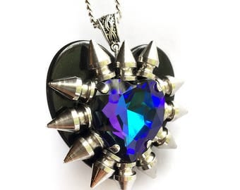 Heliotrope Swarovski Crystal Heart Necklace // Spike Necklace // Spike Jewelry // Crystal Necklace // Gothic Jewelry // Heart Pendant