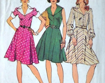 Vintage 70's Simplicity 6092 Sewing Pattern, Misses' Dress With Bias Skirt, Size 16, 28 Bust, Retro 1970's Fashion