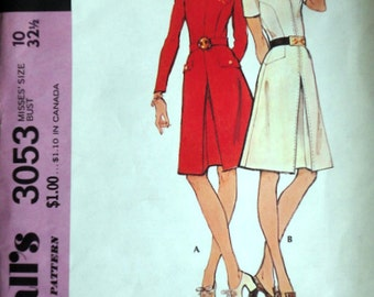 Vintage 70's McCall's 3053 Sewing Pattern, Misses' Dress, Size 10, 32 1/2 Bust, Uncut FF, Retro 1970's Fashion, Step-By Step Pattern