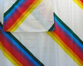 Iconic 80s Rainbow Striped Double Bedding Flat Bed Sheet Pillow Cases Thomaston Aspen