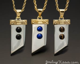 Buster Sword Inspired Pendant with Gemstones