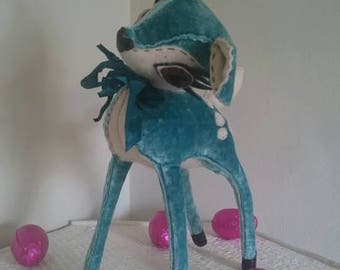 Finn - Turquoise Velvet & Cream Felt Hand Stitched Deer - Limited Edition