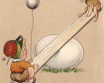 Easter Greetings, Child, Bunny rabbit on egg Seesaw Vintage Postcard