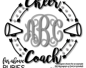 Cheer Coach Megaphone Monogram Wreath Arrows (monogram NOT included) - SVG, DXF, png, jpg digital cut file for Silhouette or Cricut