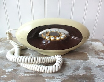 Vintage Genie telephone phone Comdial Bell South brown and cream Mod push button dial works