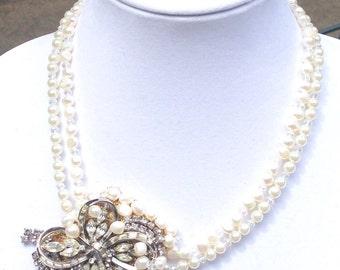 SALE Bridal vintage necklace, vintage pearl statement necklace, one of a kind stylish elegant bridal necklace
