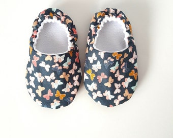 Baby Shoes, Baby Moccasins, Childrens Indoor Shoes, Butterflies