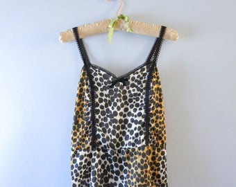 Vintage Camisole - 1970s Leopard Print Camisole Cami Top Size M - Animal Print