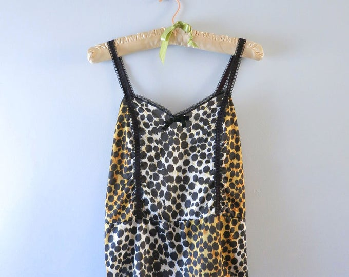 Vintage Camisole - 1970s Leopard Print Camisole Cami Top Size M - Animal Print