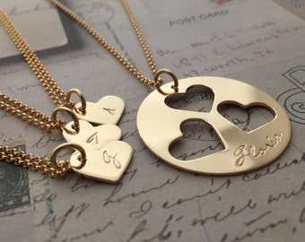 Personalized Gold Filled Mother Daughter Jewelry - Family Heart Necklace Set for Three (3) Daughters - Mother's Jewelry in 14K GF