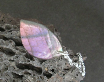 Purple & Pink Labradorite Pendant, Genuine Stone Jewelry, Natural Rock Necklace