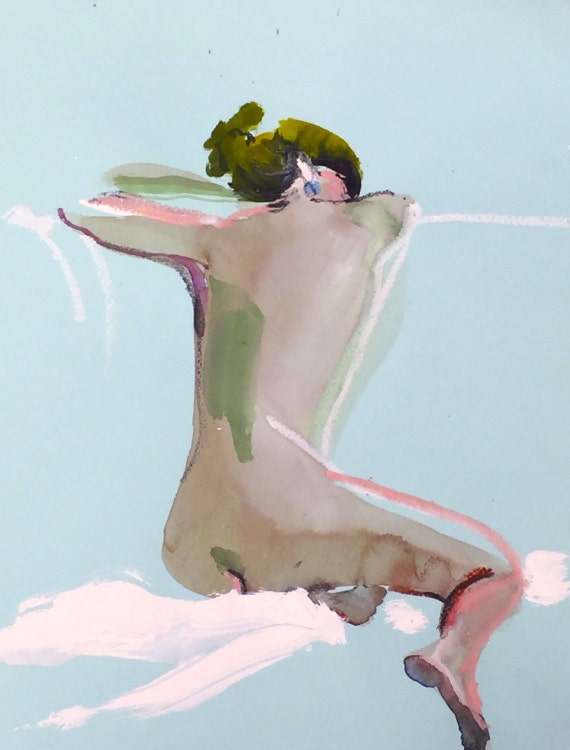 Nude painting- Original watercolor painting of Nude #1361 by Gretchen Kelly