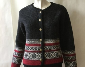 Vintage wool sweater jacket, traditional European style and pattern, dark gray, red, & cream, embossed golden buttons, medium / large