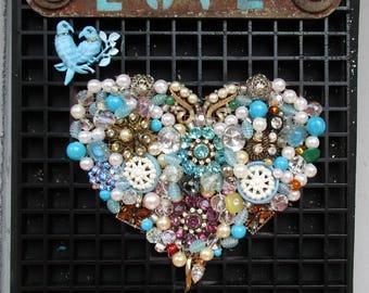 Blue Love Heart, Jeweled and Beaded