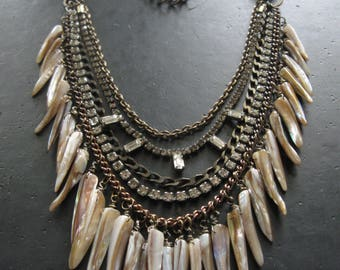 Man Eater - Mixed Metal Chain and Shell Tooth Statement Bib Necklace