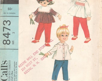 1960s McCalls 8473 Toddlers Set of Tops and Pants Pattern Smocking Transfer HELEN LEE Girls Vintage Sewing Pattern Size 2 Breast 21