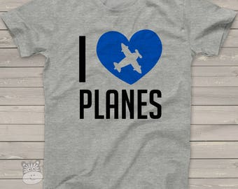 Airplane shirt - I heart planes Tshirt  IHPT