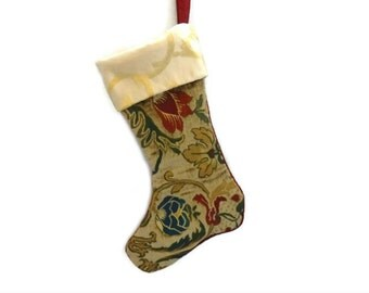 Crewel Christmas Stocking, Embroidered Floral Upholstery Sample Stocking, Handmade Embroidered Stocking