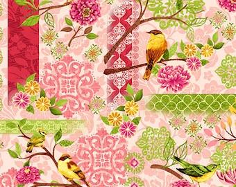 Bird Shower Curtain, Cottage Chic Bathroom Decor, Shabby Chic, Red Green Shower Curtain, Pretty Floral Shower Curtain