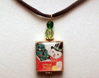 SNOWMAN Pendant / SCRABBLE CHRISTMAS Jewelry / Upcycled Handmade / Beaded Charm / Necklace