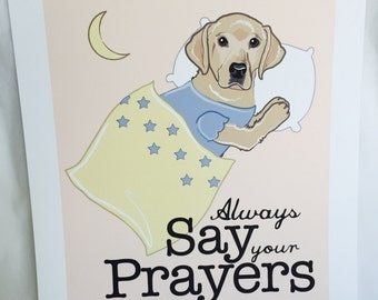 Praying Yellow Lab - 7x9 Eco-friendly Print