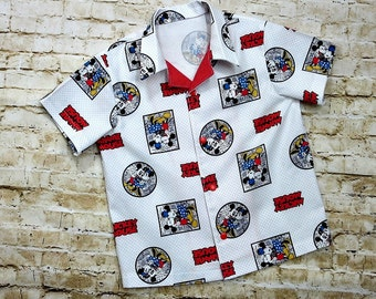 Mickey Mouse Shirt - Little Boy Clothes - Toddler Boy Shirt - Disney Birthday - Boutique Boys - Bowling Shirt Style - 3T to 10 yrs