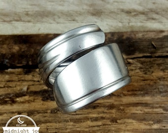 Spoon Ring Stainless Steel Wrapped Deco Silverware Flatware MR0201-DBG138