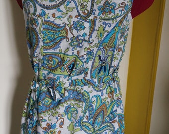 70s floral paisley belted pinafore dress blue white green sleeveless 1970s 1960s 60s mod twiggy scooter gogo