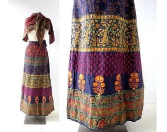 Vintage Batik Skirt | India Cotton Wrap  Skirt | Batik Scarf | 24-27W XS S