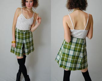 "Plaid Culottes Vintage 60s Avocado + Ivory Wool Plaid School Girl Preppy Short (27"" waist)"