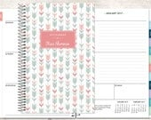 2017 planner calendar choose start month | add monthly tabs weekly student planner personalized agenda daytimer | pink green tribal