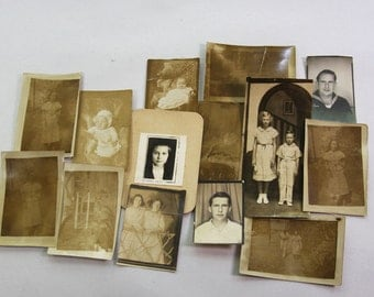 Vintage Sepia Toned Photos- Collage Lot- OLD PHOTOGRAPHS- Everyday Life- Early 1900's- Old Photo Lot