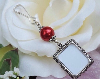 Wedding bouquet photo charm- dark red pearl. Memorial photo charm. Bridal bouquet charm. Gift for her.  Small picture frame charm.