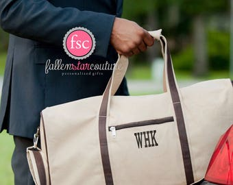 Monogrammed Men's Duffel, personalized Men's Weekender Bag , Groomsman Gift Duffel bag , Groomsmen gift bag, bridal party gift