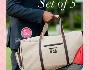 5 Personalized Men's Duffel, monogrammed Men's Weekender Bag , Groomsman Gift Duffel bag , Groomsmen gift bag, bridal party gift