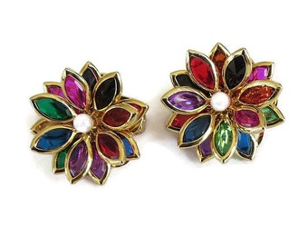 Swarovski Multi-Color Crystals Flower Earrings Vintage Navettes with Faux Pearl